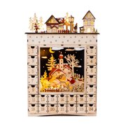 Bavarian Style Alpine Village Wooden Christmas Advent Calendar w/ Drawers