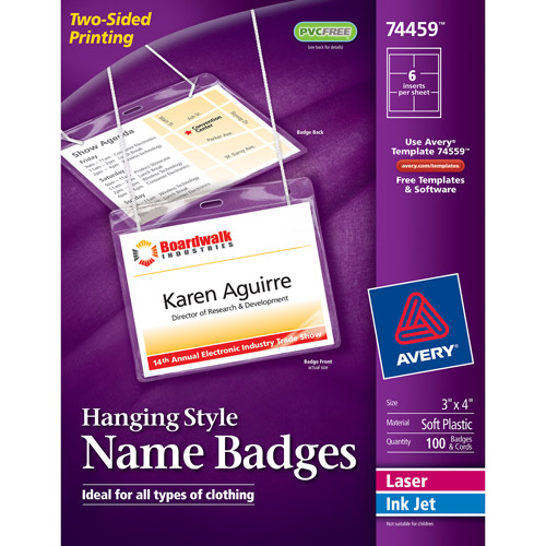 "Avery Neck Hanging-Style, Flexible Badge Holders with Laser/Inkjet Inserts 74459, 3"" x 4"", White, Top-Loading, Box of 100"