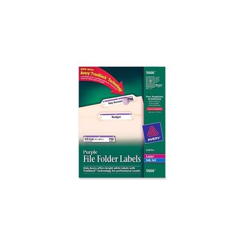 Avery Consumer Products Avery Consumer Products Permanent Filing Labels, . 33 Cut, 750-PK, Purple