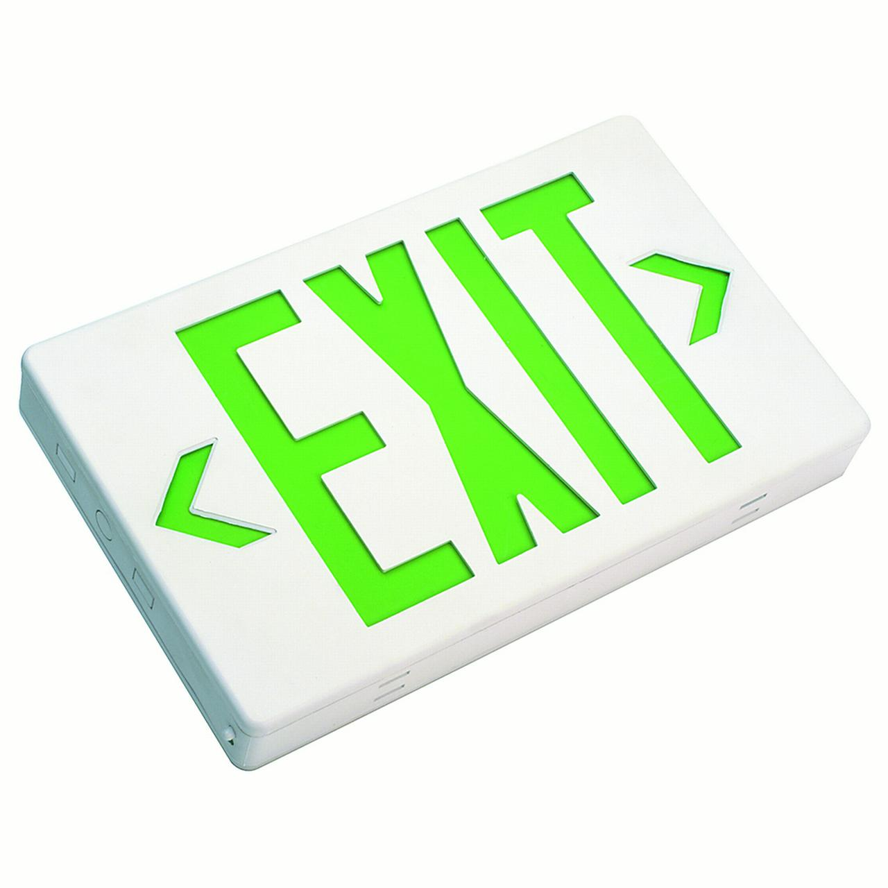 NICOR Low Profile LED Exit Sign with Automatic Low-Voltage Disconnect w/ Green