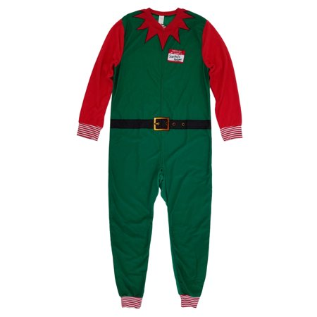 Mens Christmas Elf Costume Union Suit Holiday Fleece Pajamas