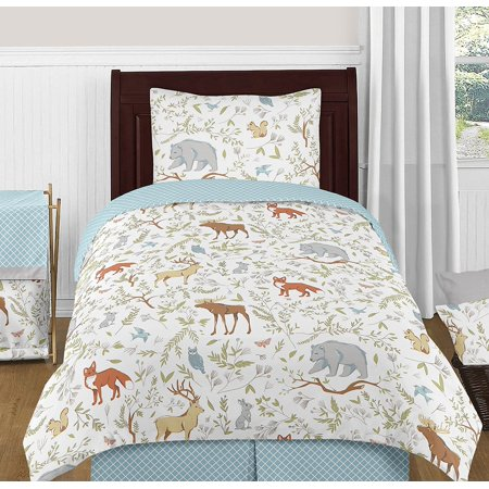 Blue, Grey and White Woodland Deer Fox Bear Animal Toile 4 Piece Boy or Girl Kids Childrens Twin Bedding