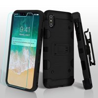 iPhone Xs Max Case, Amzer 3 in 1 Ballistic Hybrid Protector Cover Combo With ShockProof Case and Tempered Glass Full Body Protection for iPhone Xs Max - Black/Black