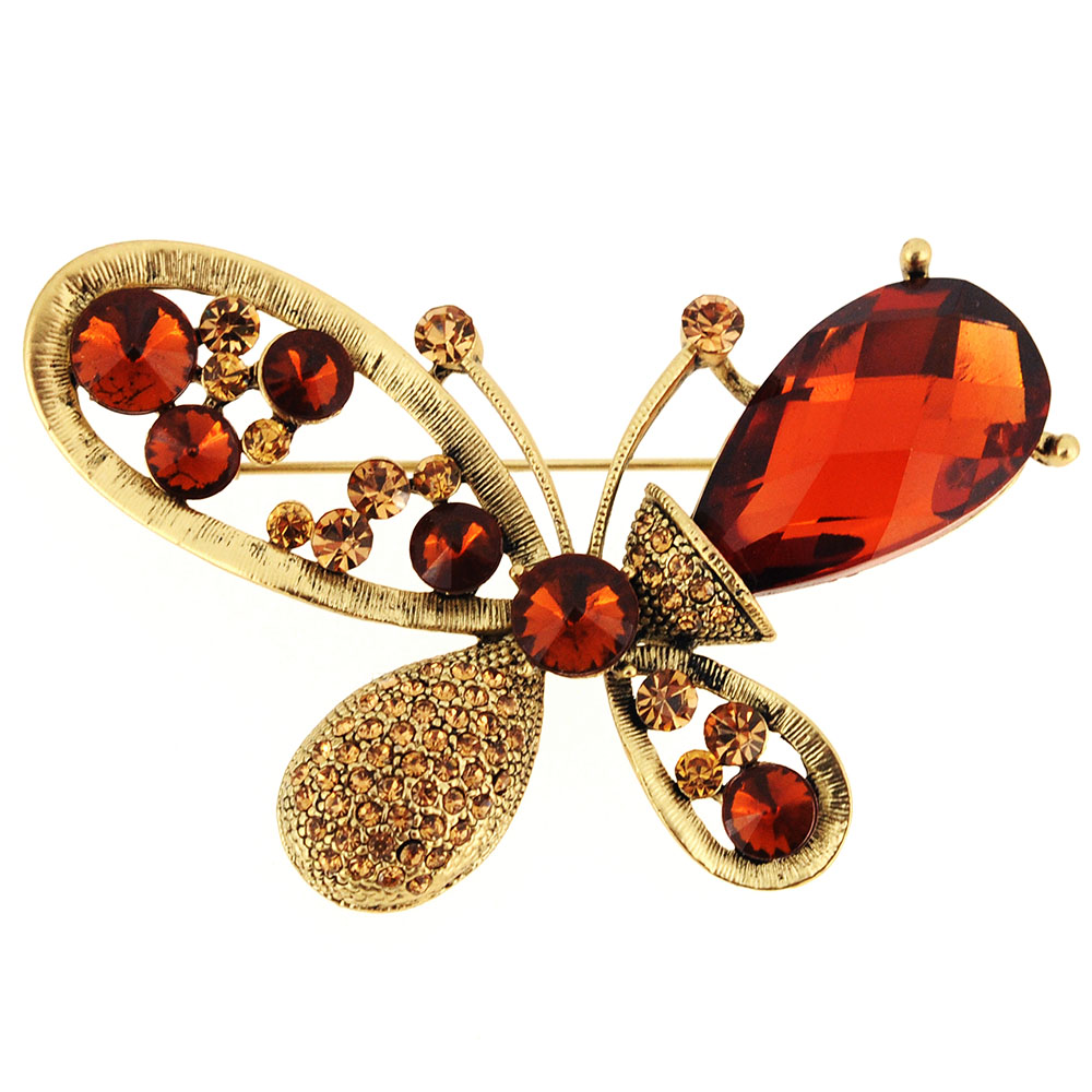 Topaz Brown Butterfly Pin Brooch by