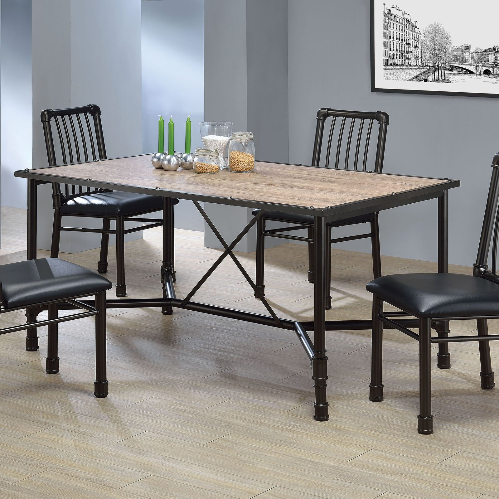 acme caitlin dining table rustic oak and black  walmart