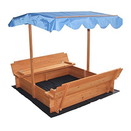 "Zimtown 47"" Covered Convertible Outdoor Sand Pit Fir Sandbox with Canopy & 2 Bench Seats for Kids"