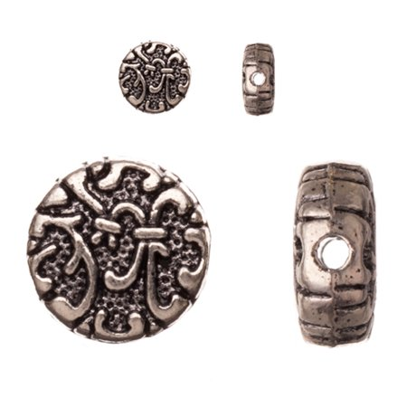 Pewter Beads, Antiqued Silver-Plated, Double-Sided Swirling Filigree Pattern, 10mm Puff Round Sold per pkg of 10pcs per pack (Double Side Filigree)