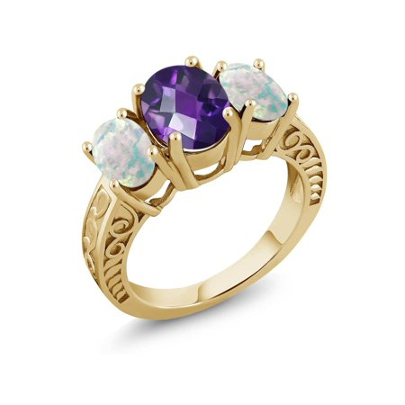- 2.76 Ct Checkerboard Amethyst Simulated Opal 18K Yellow Gold Plated Silver Ring