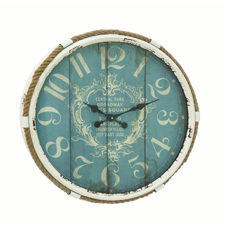 Decmode Traditional 25 Inch Flourished Iron Wall Clock