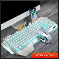 Rechargeable with backlight wireless keyboard and mouse set ultra sensitive no delay professional gaming waterproof keyboard set(Ice blue)