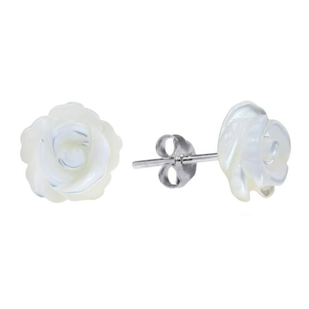 Rose of Innocence Carved Mother of Pearl .925 Sterling Silver Stud Earrings