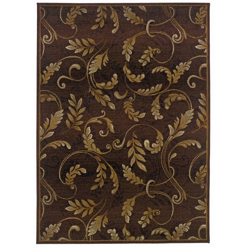 "Oriental Weavers Genesis 5'3"" x 7'6"" Machine Woven Rug in Brown"