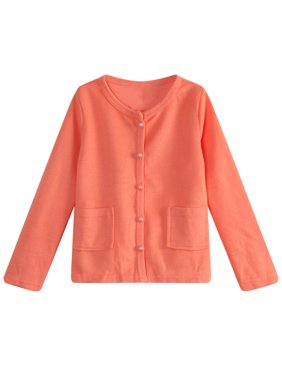 Little Girls Orange Lace Pearly Buttons Top 3