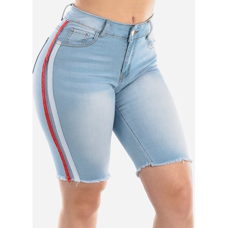 Womens Juniors Fashion Stylish Casual High Waisted Side Stripe Light Wash 1 Button Raw Hem Cut Off Denim Bermuda Shorts 10667Z