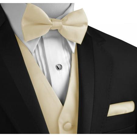 Italian Design, Men's Formal Tuxedo Vest, Bow-Tie & Hankie Set for Prom, Wedding, Cruise in Champagne -
