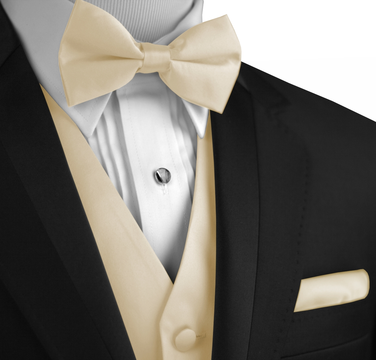 Italian Design, Men's Tuxedo Vest, Bow-Tie & Hankie Set in Champagne - XL