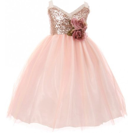 Little Girls Dress Sequins Ruffle Trim Layered Tulle Pageant Party Flower Girl Dress Blush Size 2