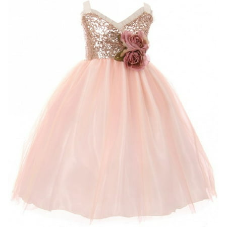 Little Girls Dress Sequins Ruffle Trim Layered Tulle Pageant Party Flower Girl Dress Blush Size