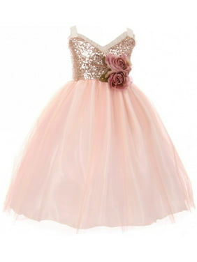 9d9a42499d Product Image Little Girls Dress Sequins Ruffle Trim Layered Tulle Pageant  Party Flower Girl Dress Blush Size 2