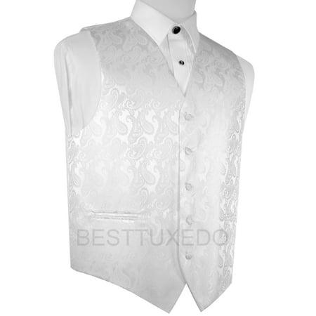 Paisley Abbey Halloween (Italian Design, Men's Formal Tuxedo Vest for Prom, Wedding, Cruise , in White)