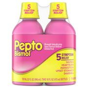 Pepto Bismol 5 Symptom Stomach Relief Liquid, Original, 16 oz, 2 Pack