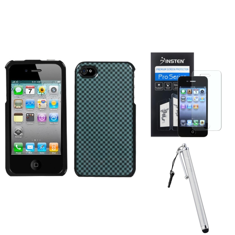 Insten Checker Dream Case For Apple iPhone 4 4S + Stylus + Screen Guard