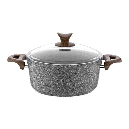 Discount World HD-PT-3068 8 in. Granite Plus Deep Pot with Glass Lid Wood Handle, Gray ()