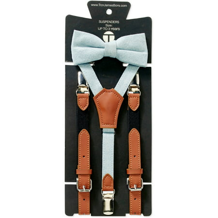 Genevieve Goings Collection Boys Powder Blue Bow Tie and Leather Suspenders 2 pc Set