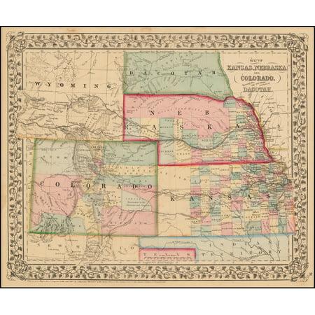 Laminated Poster Map Of Kansas Nebraska And Colorado Showing Also
