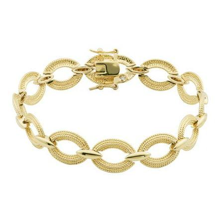 Women's 18kt Gold over Brass Textured Oval Link Bracelet, 7.5
