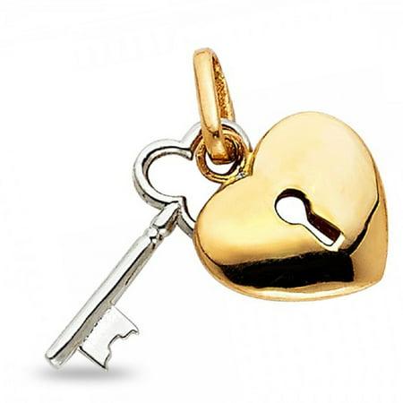 14k Yellow White Gold Heart Lock & Key Pendant Love Charm Polished Two Tone 13 mm x 20 mm