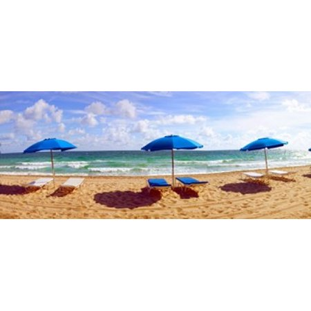 lounge chairs and beach umbrellas on the beach fort lauderdale beach florida usa canvas art