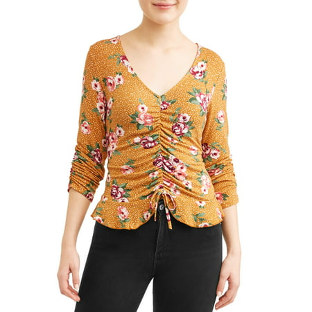 - Juniors' Printed Ruched Front Peplum Blouse