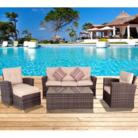 Sundale Outdoor 5 Pieces Wicker Patio Furniture Conversation Set