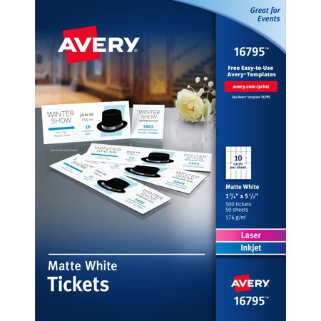 Avery Matte White Printable Tickets with Tear-Away Stubs, 1-3/4 x 5-1/2, Pack of 500 (16795)