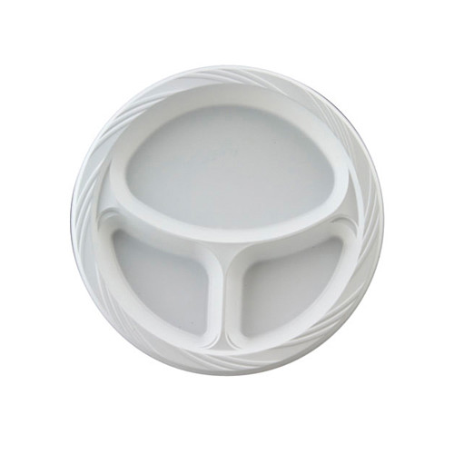 CHINET 10.25'' Round Plastic Plates with 3 Compartments in White