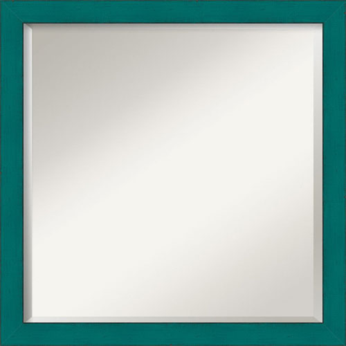 French Teal Rustic Square Mirror: 22 x 22-Inch Wall Mirror by Amanti Art