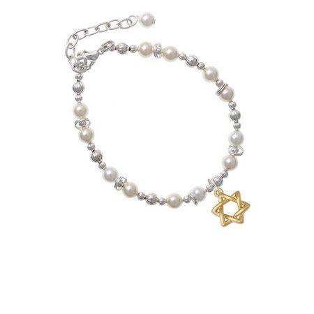 Goldtone Woven Star of David Imitation Pearl Beaded Bracelet David Yurman Gold Bracelet