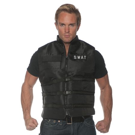 Swat Mens Adult Black Police Task Force Costume Accessory Vest-So for $<!---->