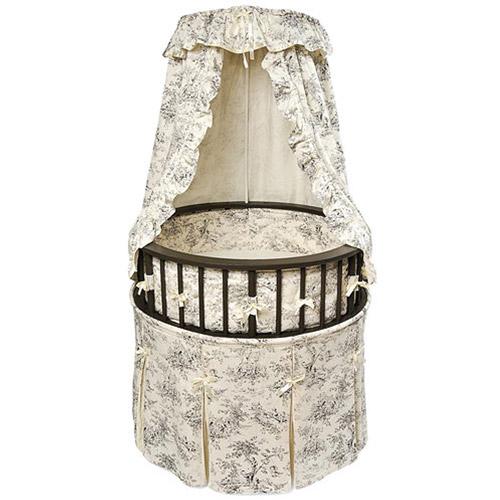 Badger Basket Round Elegance Baby Bassinet, Toile by Badger Basket