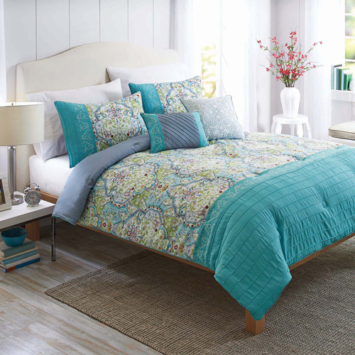 Better Homes and Gardens Watercolor Damask 5-Piece Bedding Comforter Set