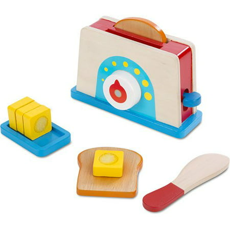 Melissa & Doug Bread and Butter Toaster Set (9 pcs) - Wooden Play Food and Kitchen Accessories - Halloween Food Bread