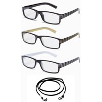 3 Pack IG Stripe Design Light Weight High Fashion Reading Glasses with Lanyard +1.00