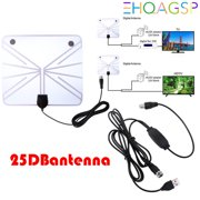 HDTV Antenna, Indoor Amplified TV Antenna 50--60 Mile Range with Detachable Amplifier Signal Booster