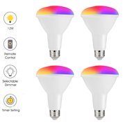 BR30 Color Changing Flood LED Light Bulb, Remote Control, RGB+Warm White+Cool White, 12W(100W Equivalent) Multi-Color LED Bulbs for Home Lighting, Party, Pack of 4