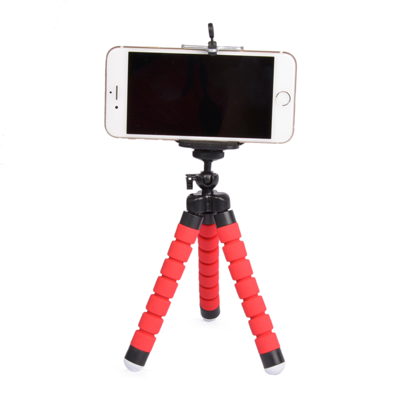 Flexible Portable Adjustable Tripod Mini Universal Octopus Leg Style Bluetooth Selfie Stick Red with bluetooth remote control