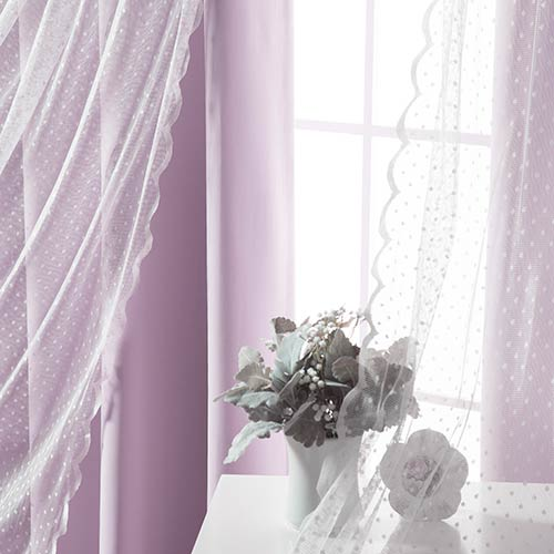 Lavender Wide Dot Lace 80 x 84 In. Blackout Window Treatments, Set of Two by