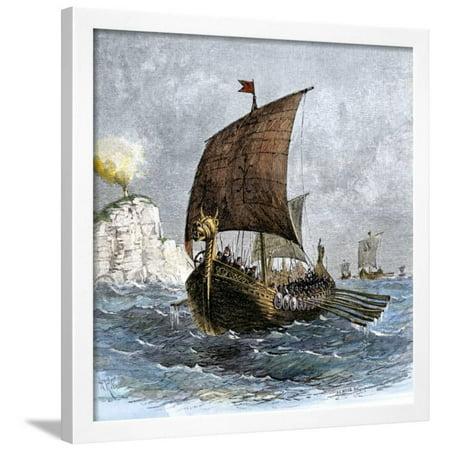 Danish Viking Ship, Raven, at Sea Framed Print Wall Art - Ship To Denmark