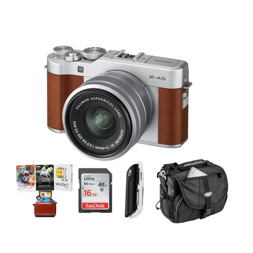 Fujifilm X-A5 24.2MP Mirrorless Digital Camera with XC 15-45mm f/3.5-5.6 OIS PZ Lens, Brown - Budle With 16GB SDHC Card, Camera Case, Card Reader, Mac