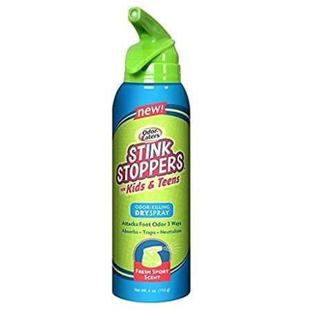 Odor Stoppers - Odor Eaters Stink Stoppers for Kids Dry Spray Fresh Sport Scent 4oz Each